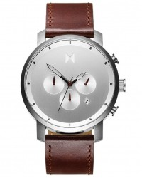 MVMT Chrono Silver/Brown Stainless Steel & Leather Watch