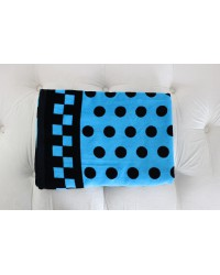 Groovy Velour Beach Towel - Blue Polka