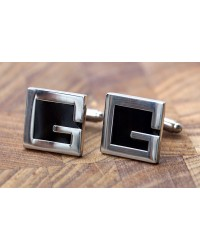 "Mens Silver Cufflinks - Personalised Letter ""G"""