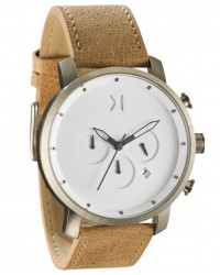 MVMT Chrono White/Caramel Stainless Steel & Leather Watch