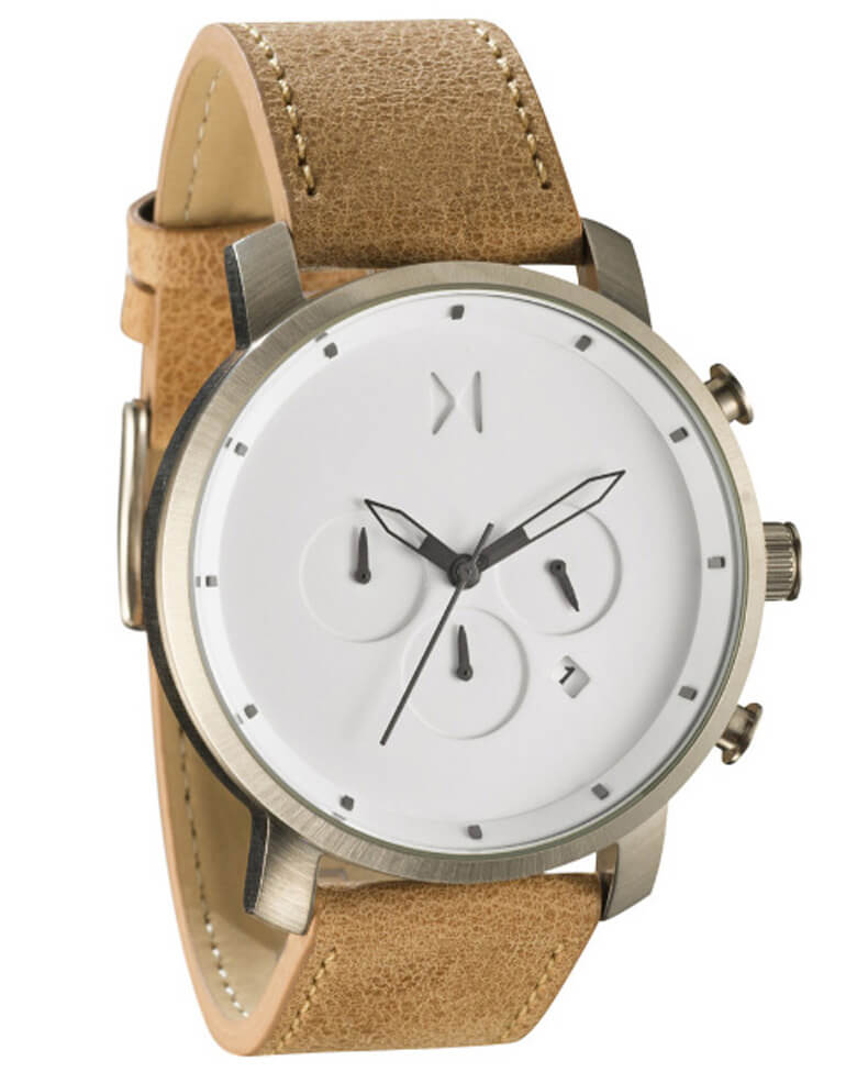 Mvmt chrono white caramel stainless steel leather watch for Wacthes mvmt