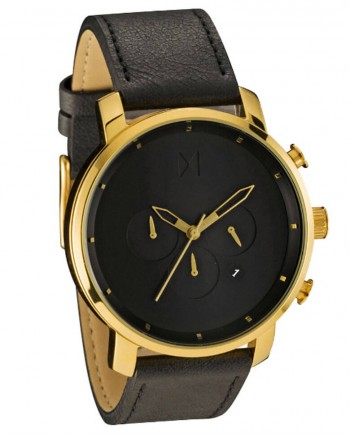 MVMT Chrono Gold/Black Stainless Steel & Leather Watch