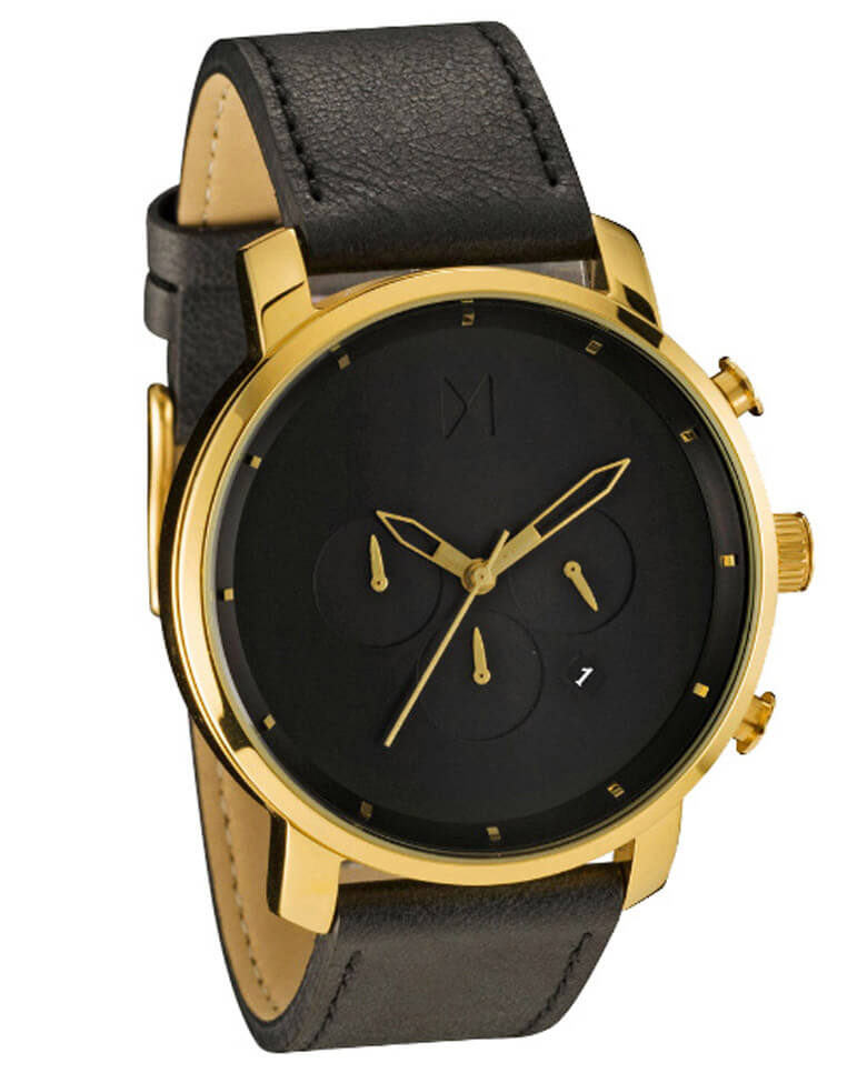 Mvmt chrono gold black stainless steel leather watch for Watches gold
